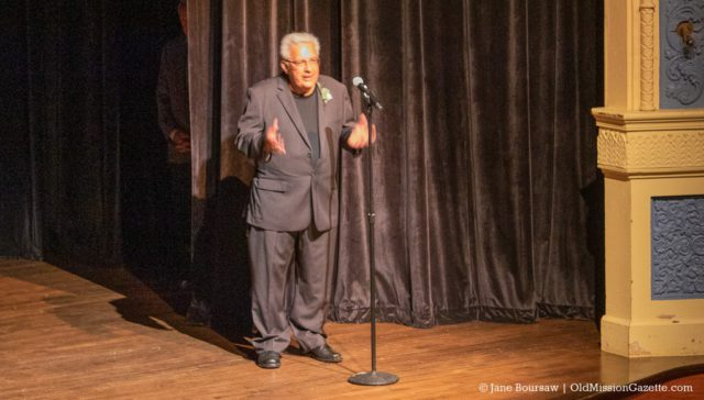 Old Mission Peninsula's Mario Tabone speaks at the Traverse City Wine and Opera Festival presentation of the Bellini Opera at the City Opera House in Traverse City | Jane Boursaw Photo