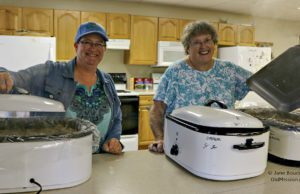 Deb Allen and Marge Kroupa at the OMPUMC Harvest Dinner 2016 | Jane Boursaw Photo