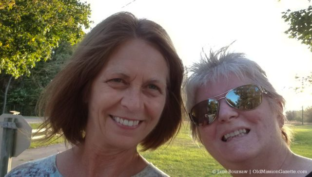 Barb Wunsch and Jane Boursaw at Bowers Harbor Park on the Old Mission Peninsula