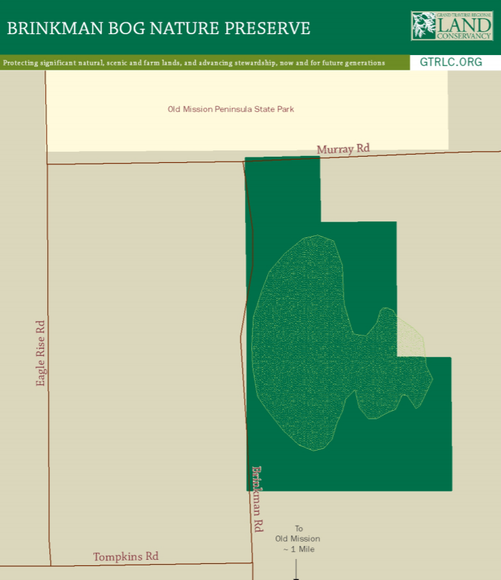 Hunting in Brinkman Bog Nature Preserve   Grand Traverse Regional Land Conservancy Map