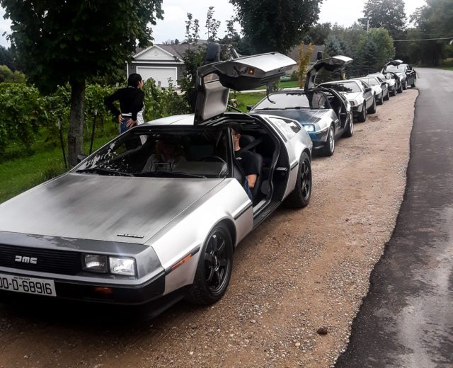DeLoreans at the Old Mission General Store on the Old Mission Peninsula