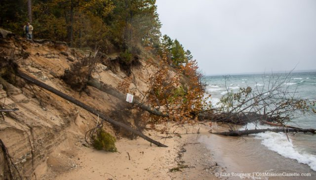 Shoreline erosion at the end of Forest Avenue on the Old Mission Peninsula