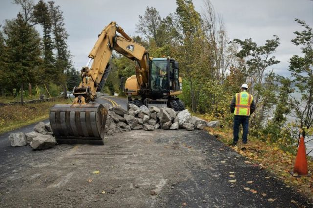 Grand Traverse County Road Commission stabilizes Peninsula Drive after erosion issues caused by high waves on the Old Mission Peninsula