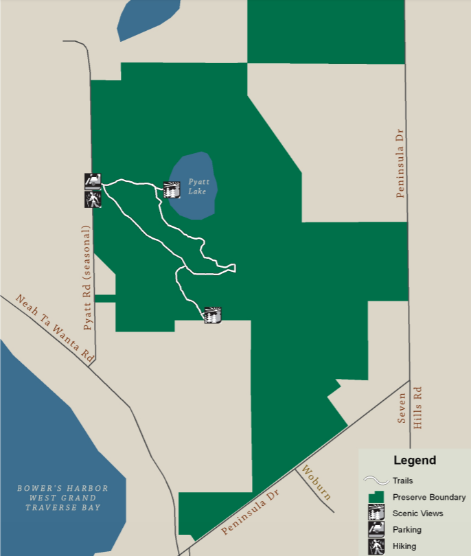 Pyatt Lake Nature Preserve   Grand Traverse Regional Land Conservancy Map