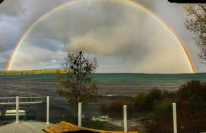 Rainbow over Old Mission Harbor on the Old Mission Peninsula