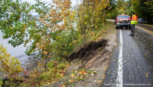 High winds caused a tree and bank to collapse into East Bay on Bluff Road on the Old Mission Peninsula