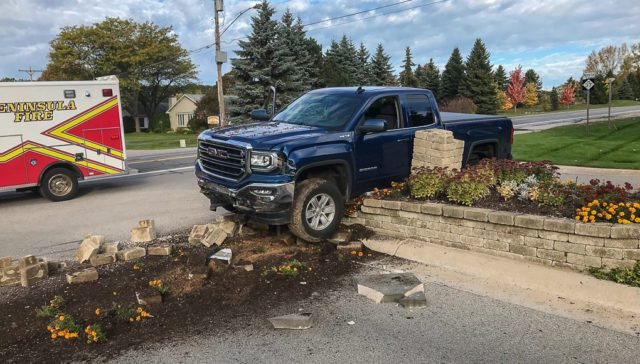 Truck crashes into Wildwood Meadow Drive Sign on the Old Mission Peninsula