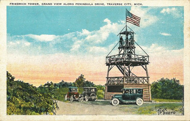Old Mission History: Friedrich Tower on the Old Mission Peninsula | Orson Peck Postcard