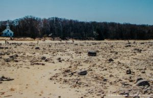 April 2000: Low water levels at Mission Point Lighthouse on the Old Mission Peninsula
