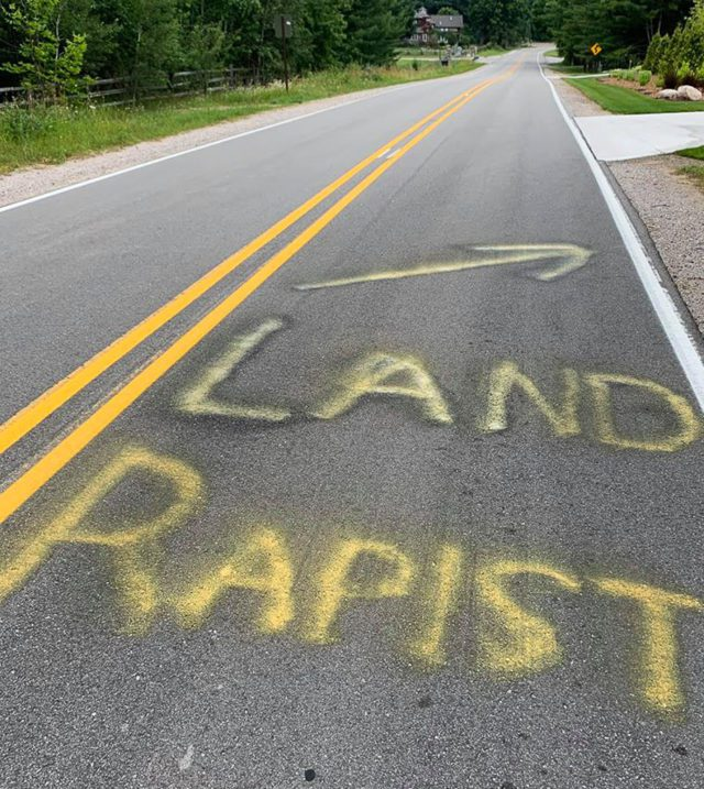 Vandalism on Bluff Road in front of O'Grady home in July 2019 | O'Grady Photo