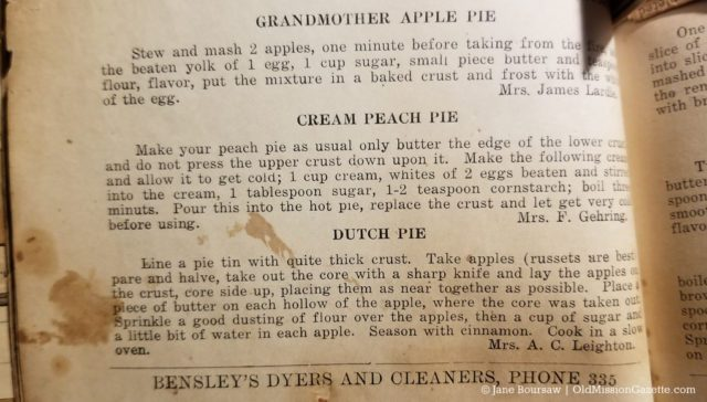 Mrs. Leighton's Dutch Pie recipe from the Old Mission Cook Book, Ladies' Aid Society of the Congregational Church, 1922