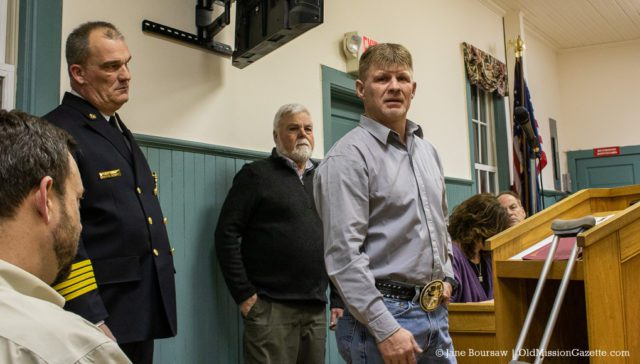 Chris Martin thanks Julie Moore and the Peninsula Fire Department for saving his life after an industrial accident on Bluff Road on July 16, 2019 | Jane Boursaw Photo