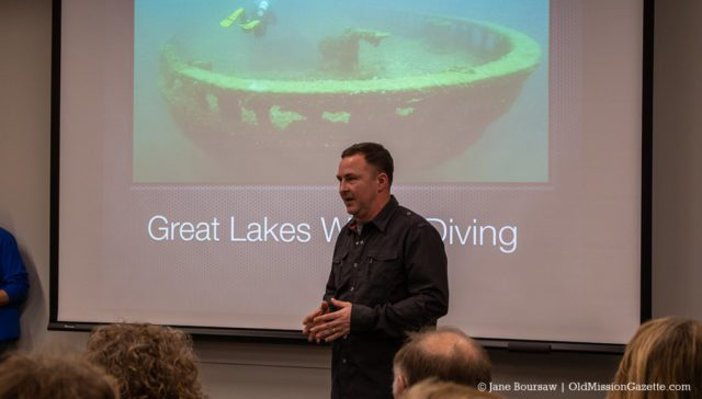 Diver Chris Roxburgh presents a program on Great Lakes Shipwrecks at Peninsula Community Library on the Old Mission Peninsula | Jane Boursaw Photo