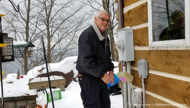 AcenTek's John DeVol cutting the cord and installing Internet at Tim and Jane's house on the Old Mission Peninsula | Jane Boursaw Photo