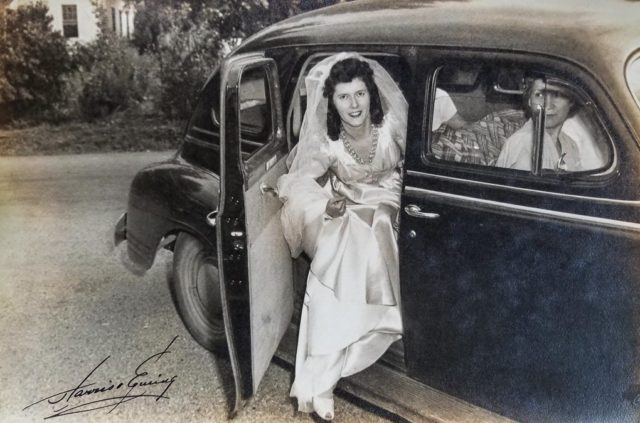 Mary Louise Bohlken on August 21, 1946, the day of her wedding to Walter Johnson; Clarendon Methodist Church in Arlington, VA | Bohlken Photo