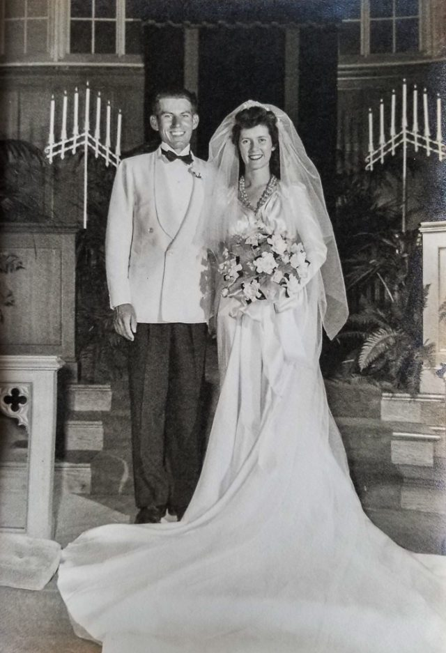 Walter and Mary Johnson wedding at Clarendon Methodist Church in Arlington, VA, 1946
