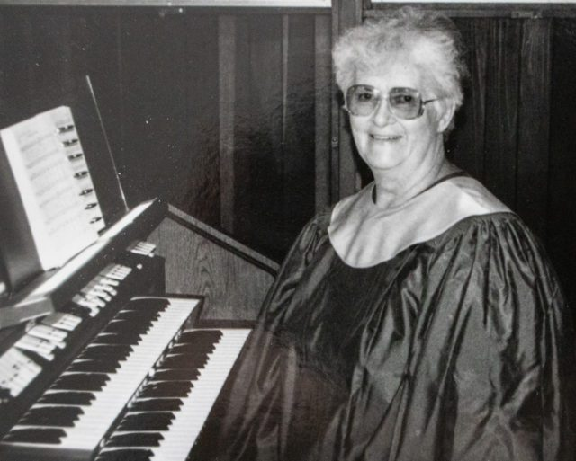 Mary Johnson at the organ at Ogdensburg United Methodist Church, circa 1970s | Marge Long Family Archives
