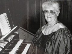 Mary Johnson at the organ at Ogdensburg United Methodist Church on the Old Mission Peninsula