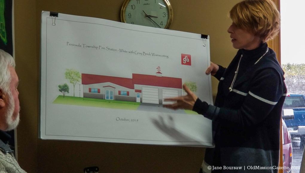 Jennifer Hodges with drawing of Peninsula Fire Department Station 3 | Jane Boursaw Photo