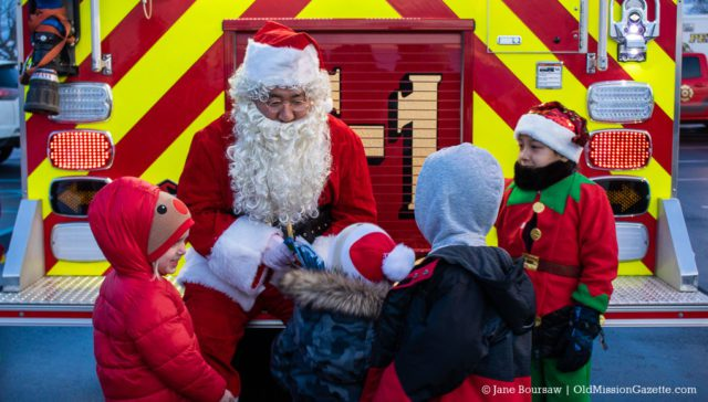 Santa arrives at Peninsula Community Library on the Old Mission Peninsula | Jane Boursaw Photo