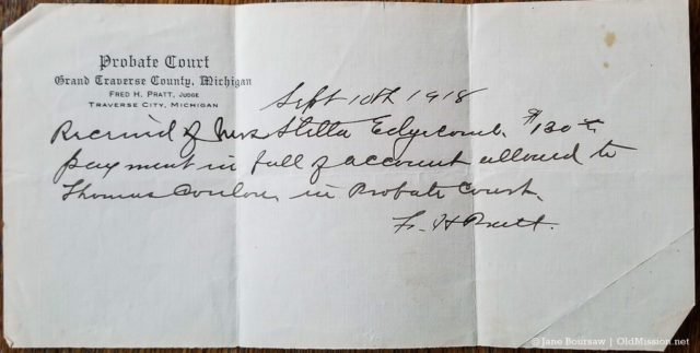 Grand Traverse County Probate Court document dated Sept. 10, 1918; Judge Fred H. Pratt | Jane Boursaw Photo
