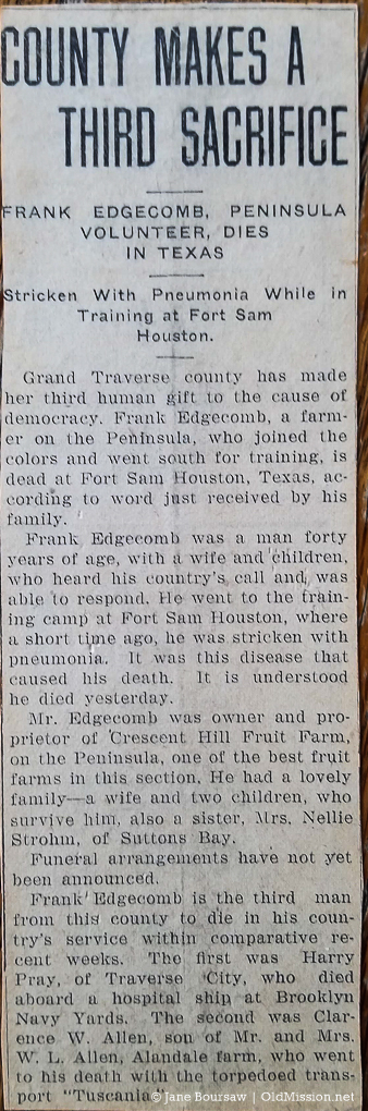 Frank Edgecomb dies of pneumonia at Fort Sam Houston in Texas during WWI