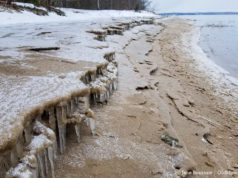 Mission Point Lighthouse Beach Sand and Ice Shelves on the Old Mission Peninsula   Jane Boursaw Photo