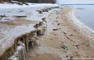 Mission Point Lighthouse Beach Sand and Ice Shelves on the Old Mission Peninsula | Jane Boursaw Photo
