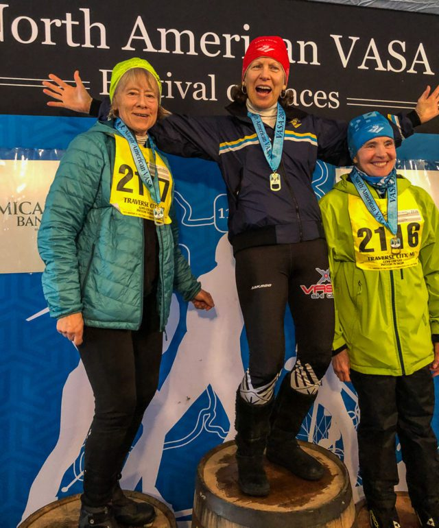 OMP skiers (and the three oldest female competitors in the 17K Classic Race) at the VASA 2020 Race: Monnie Peters, Gussie Peterson and Joanne Westphal | Peters Photo