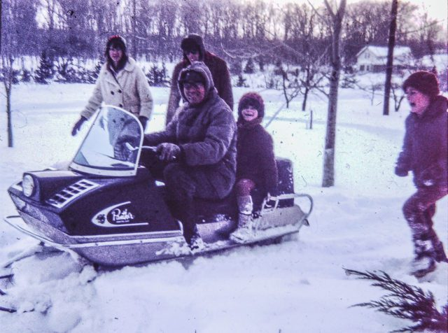 New Panther Arctic Cat Snowmobile delivered to Walter Johnson house in Old Mission in 1969