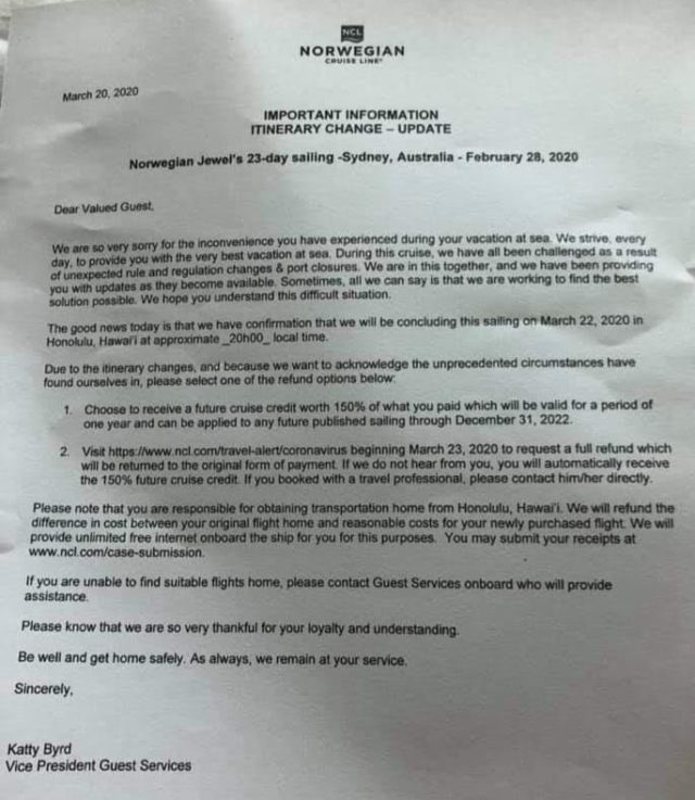 Norwegian Jewel Letter to Passengers dated March 20, 2020; Posted on Facebook by Jay Martinez, a passenger onboard the ship
