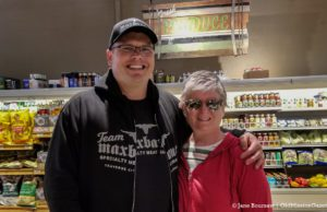 Mark Wilson and Jane Boursaw at Maxbauer's Specialty Meat Market in Traverse City Michigan