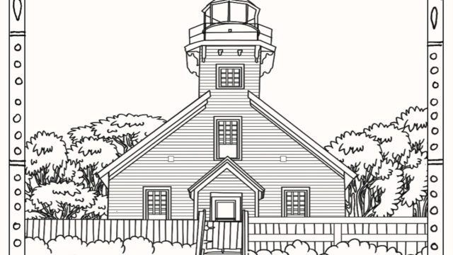 Mission Point Lighthouse Coloring Page - Old Mission Peninsula
