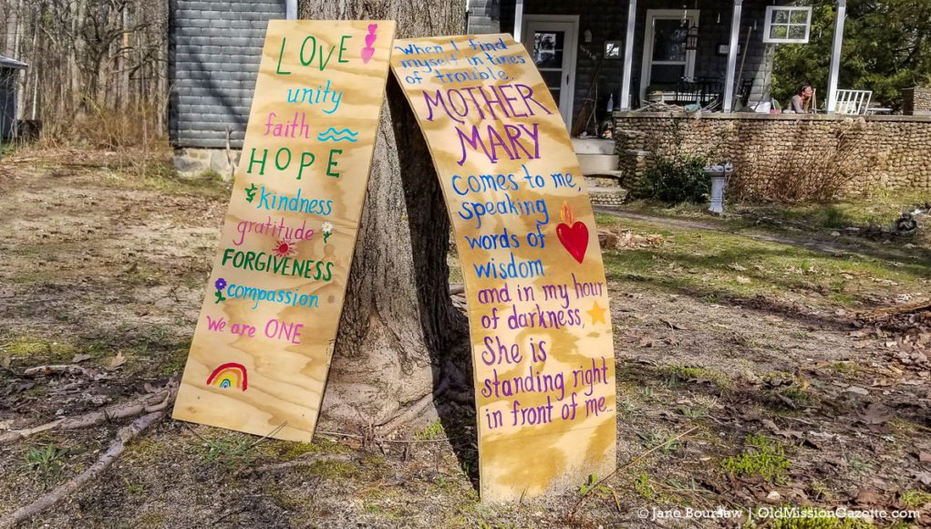 Hope and Love on a Bay Street sign in Old Mission | Jane Boursaw Photo