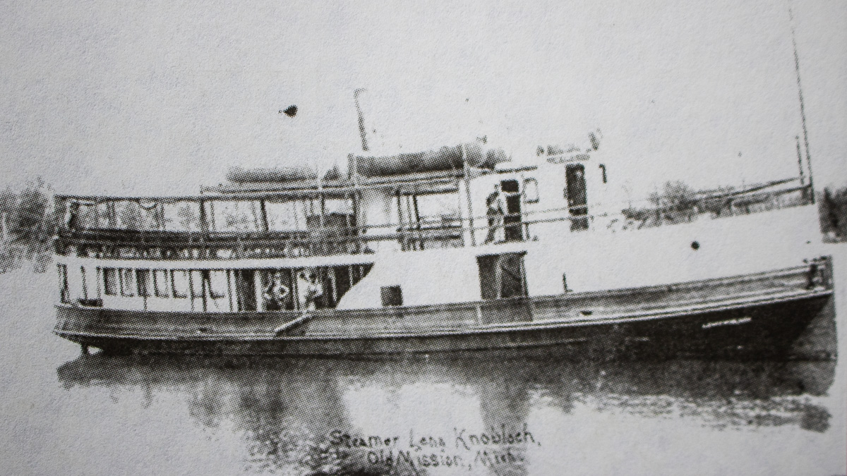 Bowers Harbor History: The Lena Knobloch, owned by Pete Lardie of Mapleton, circa 1910 | A Century of Service Photo