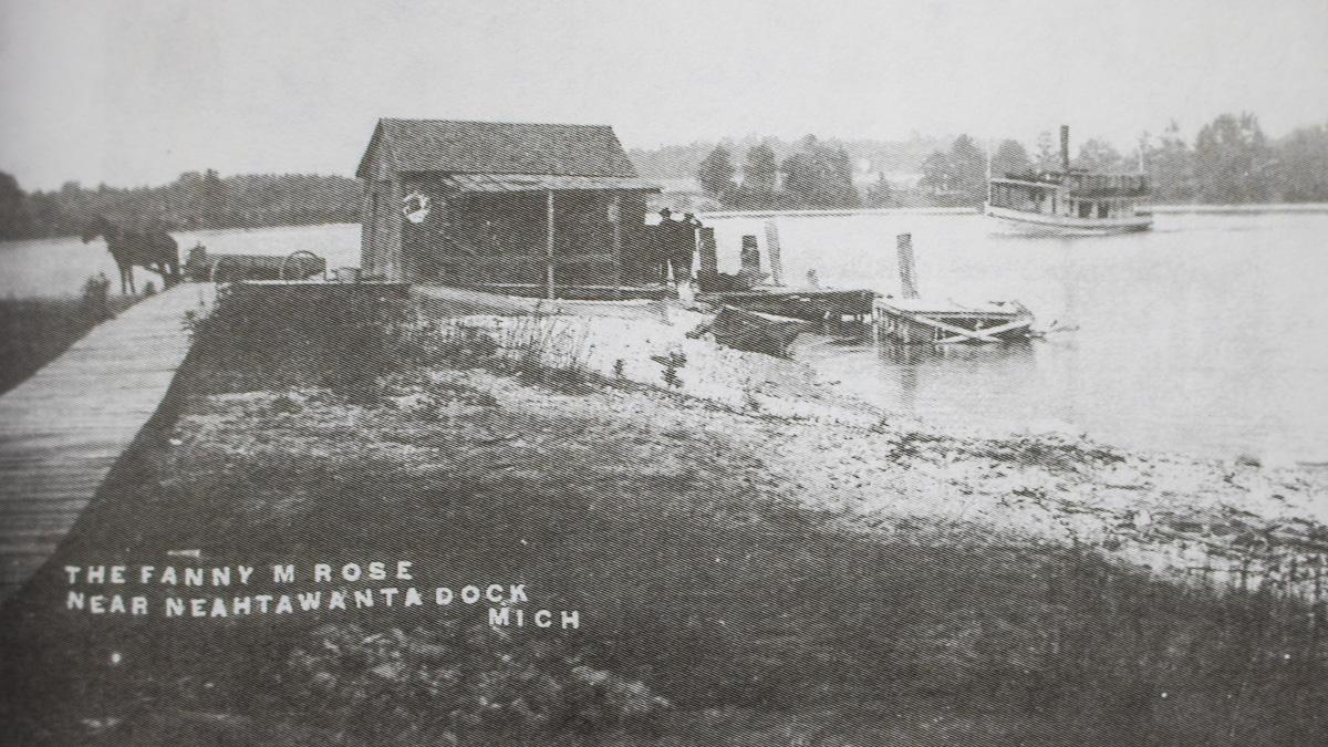 Bowers Harbor History: The Fanny Rose at the Neahtawanta Dock, circa 1920 | A Century of Service Photo