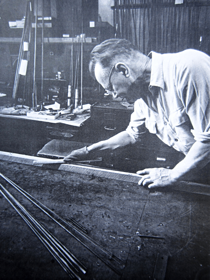 Paul H. Young in his fly rod shop in Detroit