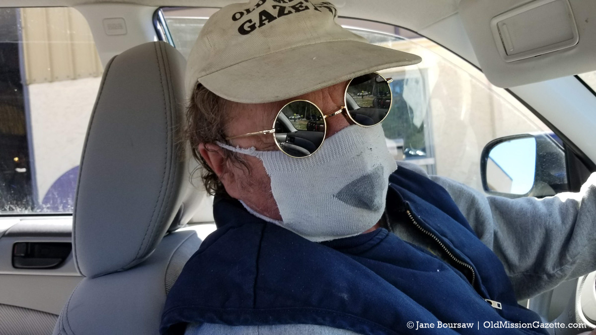 Tim's Sock Monkey Mask During COVID-19 Pandemic | Jane Boursaw Photo