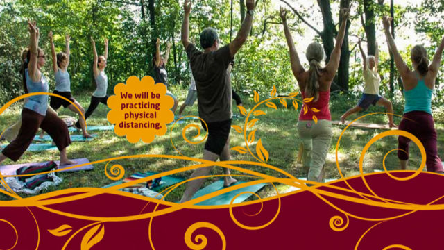 Outdoor Summer Yoga with Sally Van Vleck at the Neahtawanta Inn on the Old Mission Peninsula