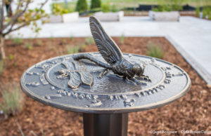 Sundial at the Mack and Lorraine Beers Children's Garden at Peninsula Community Library on the Old Mission Peninsula | Jane Boursaw Photo