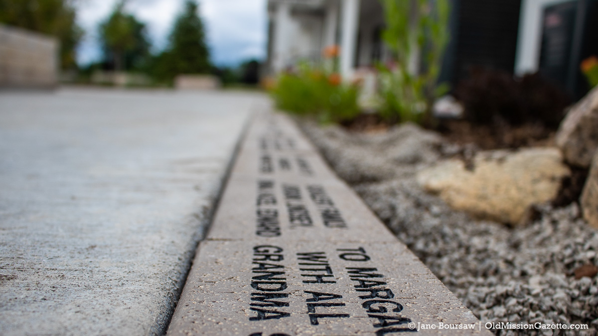Memorial Bricks at the Mack and Lorraine Beers Children's Garden at Peninsula Community Library on the Old Mission Peninsula | Jane Boursaw Photo