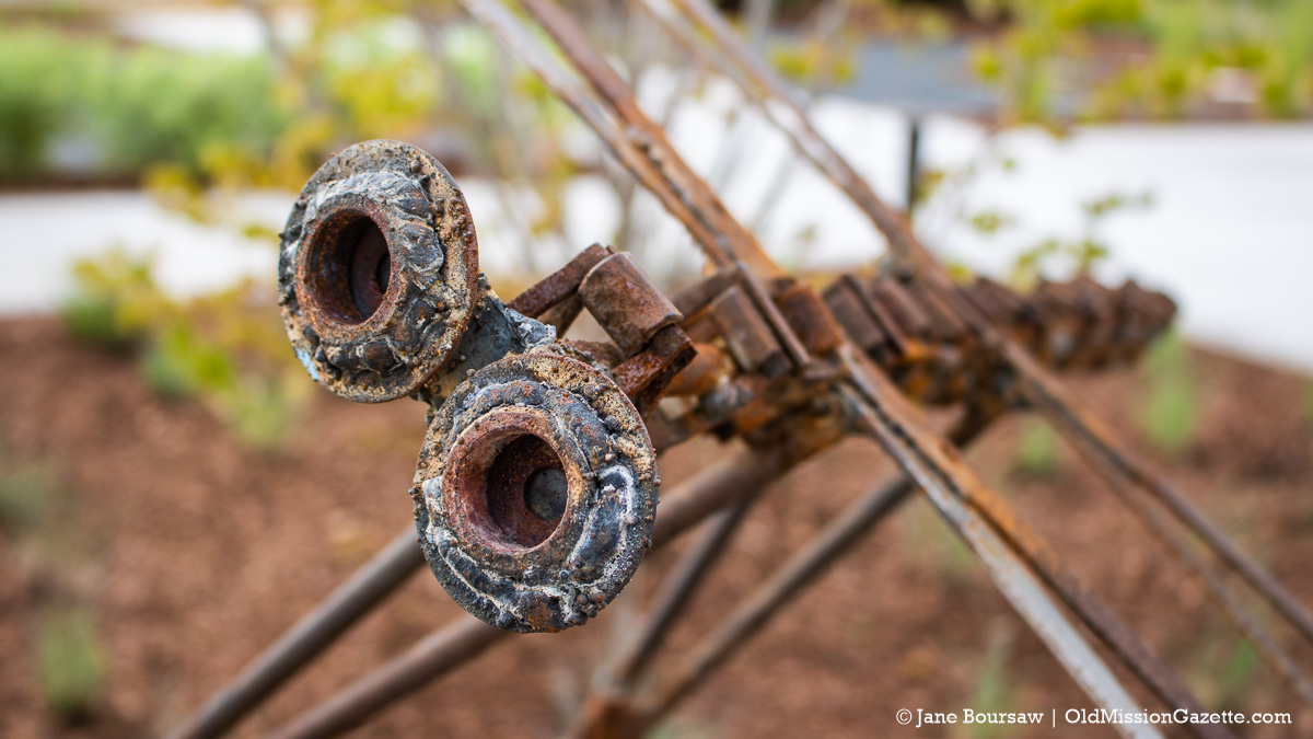 Dragonfly created by Gilbert Carrizales is made from cherry harvester parts | Jane Boursaw Photo