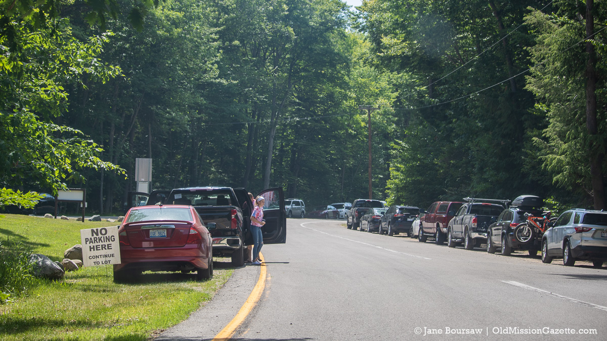 Cars on M37 at Mission Point Lighthouse on July 4 2020 Weekend | Jane Boursaw Photo