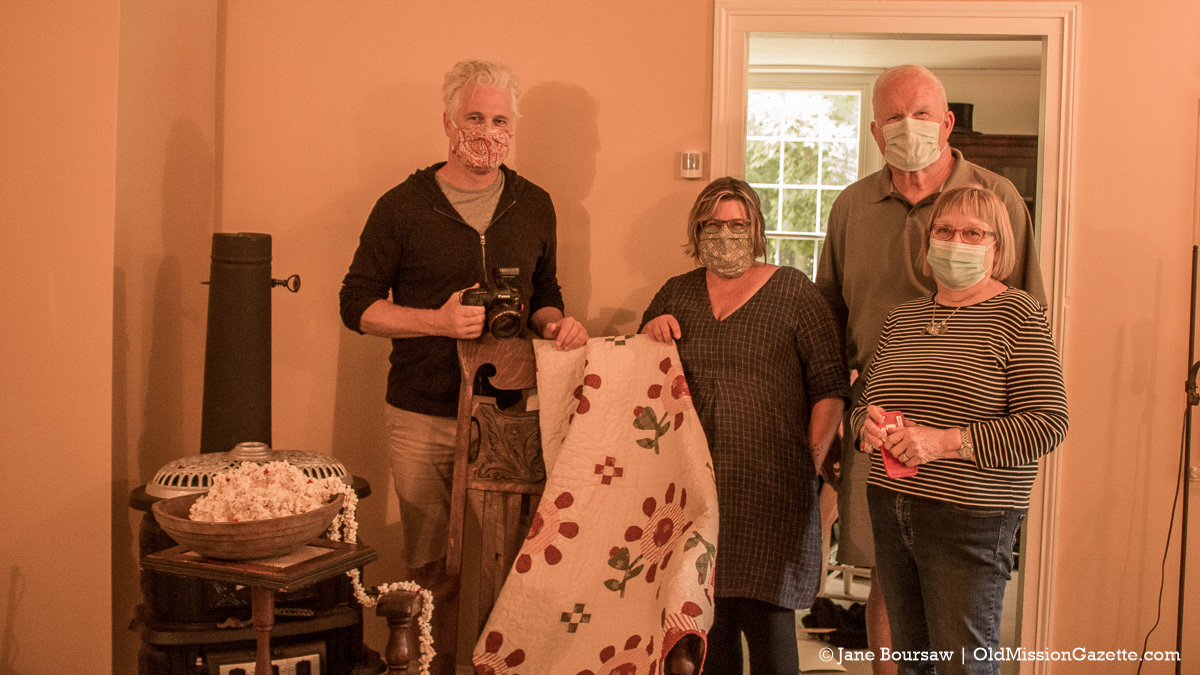 From left, photographer Michael Poehlman, art director Sandra Salamony, Dennis and Barb Hansen at the Primitive Quilts Magazine Photo Shoot; Dougherty House on the Old Mission Peninsula | Jane Boursaw Photo
