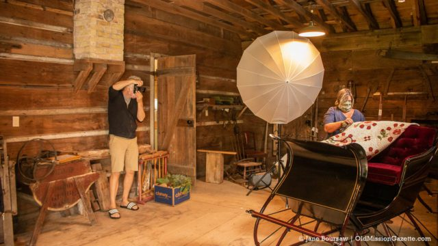 Photographer Michael Poehlman and Art Director Sandra Salamony at the Dougherty House Carriage Shed on the Old Mission Peninsula for a Primitive Quilts Magazine photo shoot | Jane Boursaw Photo