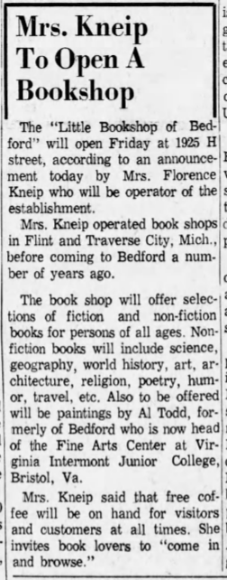 Florence Kneip's Little Bookstore in Bedford, Indiana | The Bedford Daily-Times Mail; June 26, 1962