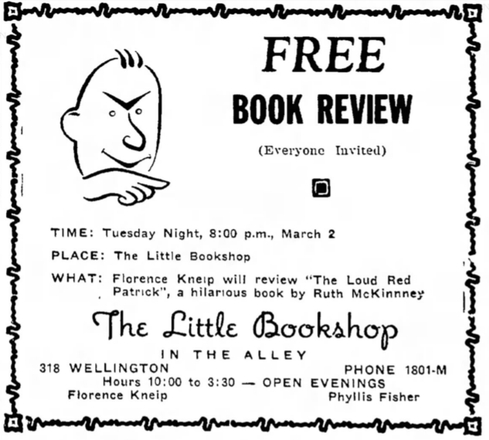 Florence Kneip's Little Bookshop in Traverse City, Michigan | Traverse City Record-Eagle; March 1, 1948