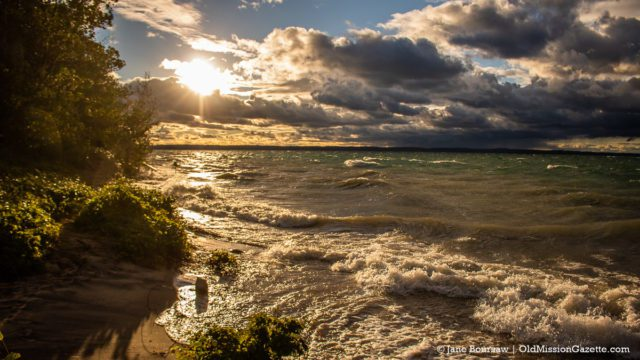 Sunset at Mission Point Lighthouse Beach on the Old Mission Peninsula | Jane Boursaw Photo