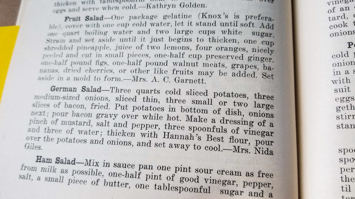Mrs. Nida Giles German Potato Salad Recipe; Old Mission Peninsula | Old Mission Gazette Photo