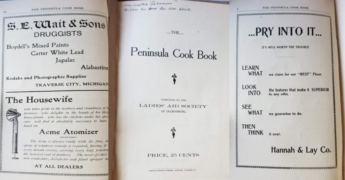 Peninsula Cook Book No. 2 Ladies Aid Society; Old Mission Peninsula | Old Mission Gazette Photo